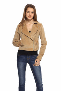 Biker Jacket in Brushed Cotton Front