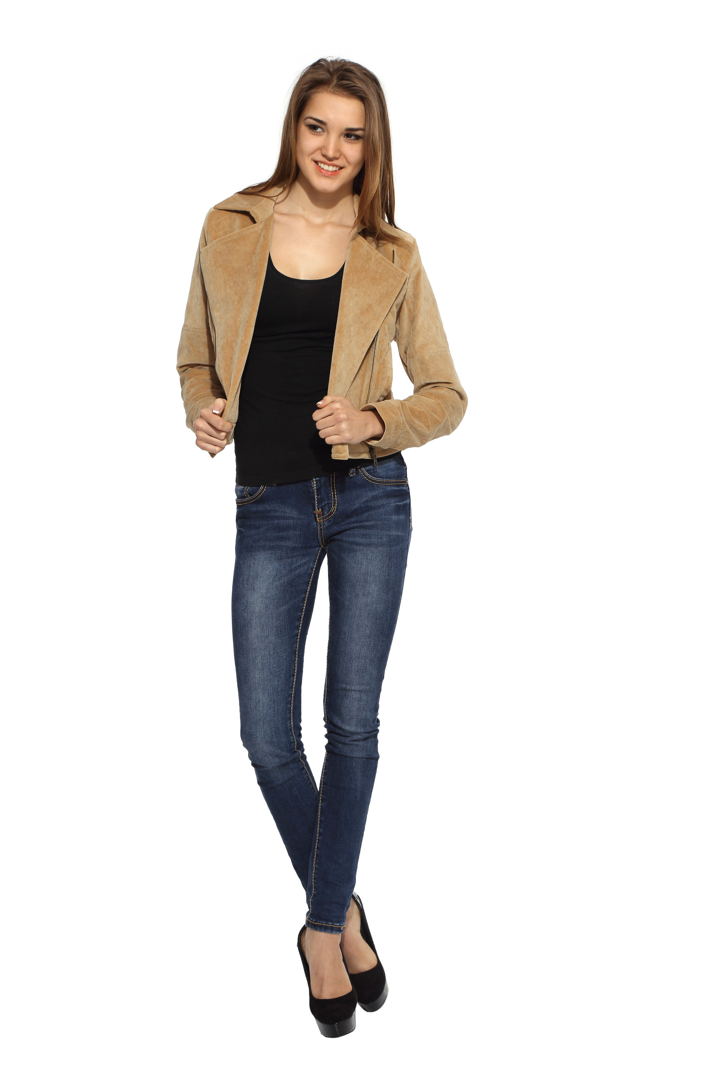 Biker Jacket in Brushed Cotton Front 1