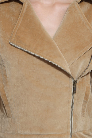 Biker Jacket in Brushed Cotton Close Up