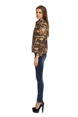 Military Jacket in Brown Camo Side 1