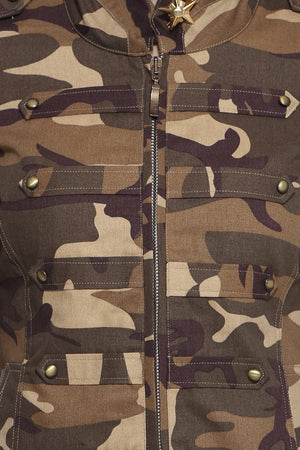 Military Jacket in Brown Camo Close Up