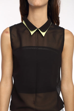 Black Double Collar Top Close Up