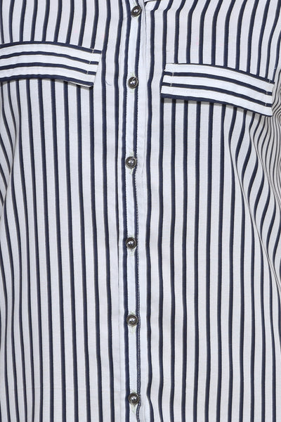 Navy Stripe Sleeveless Long Shirt Top Close Up