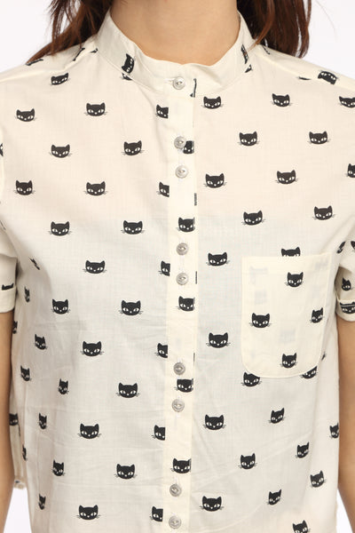 Kitty Print Crop Top Shirt Close Up
