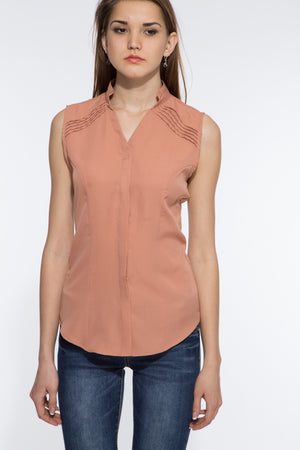 Shoulder Pin Tuck Top in Beige Close Up
