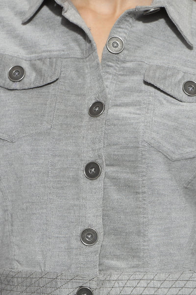 Crop Jacket in Grey Close Up