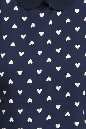 Navy Blue Printed Peterpan Collar Top Close Up