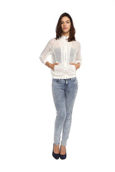 Raglon Jacket in White Lace Front