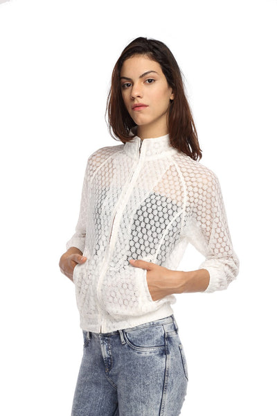 Raglon Jacket in White Lace Side