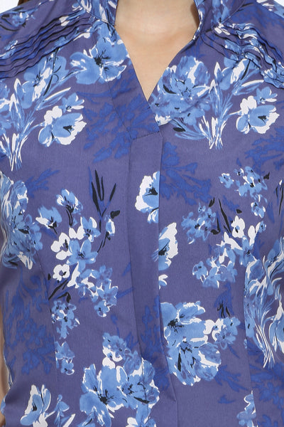 Shoulder Pin Tuck Top in Floral Print Close Up