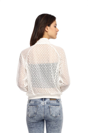 Raglon Jacket in White Lace Back