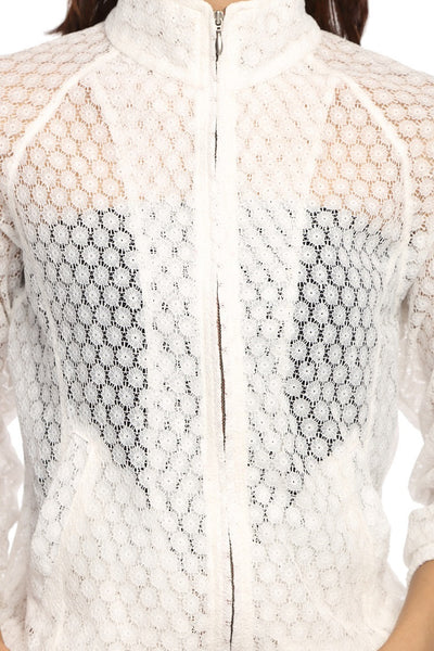 Raglon Jacket in White Lace Close Up