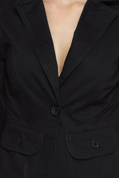 The Classic Jacket in Black Close Up