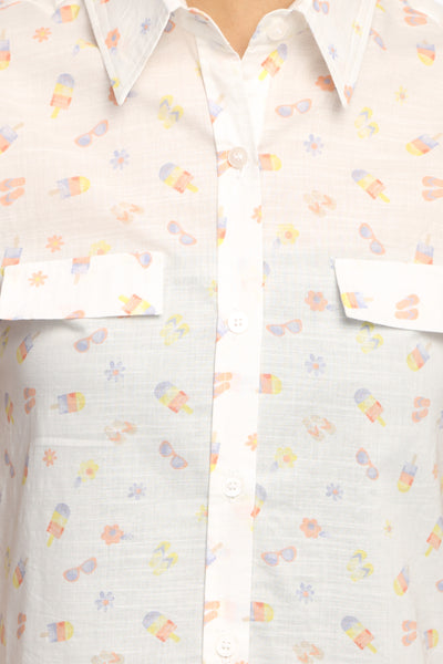 Ice Cream Print Sleeveless Long Shirt Top Close Up