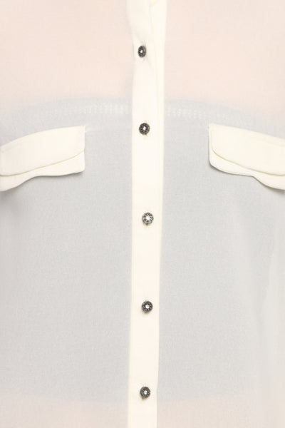 White Double Collar Full Sleeve Button Down Top Close Up