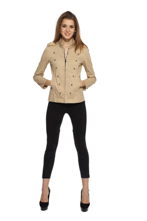 Military Jacket in Khaki Front 1