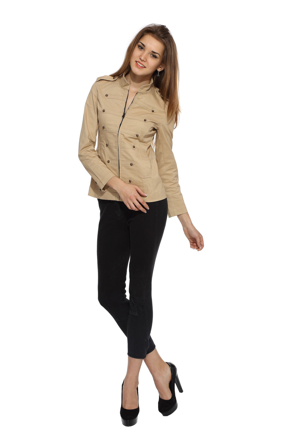 Military Jacket in Khaki Front