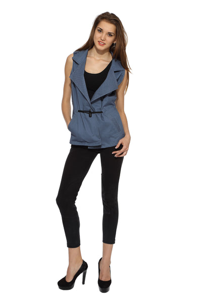 Sleeveless Jacket in Grey Front