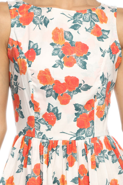 Orange Floral Flare Dress Close Up