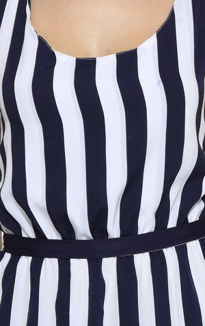 Tulip Dress in Blue Strip Close Up