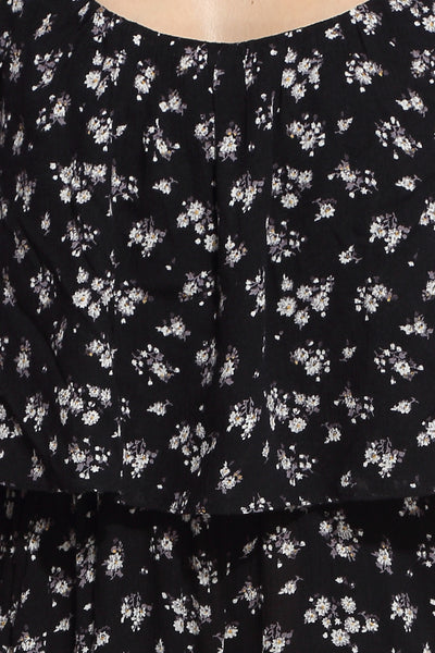 Black Floral Jumpsuit Close Up