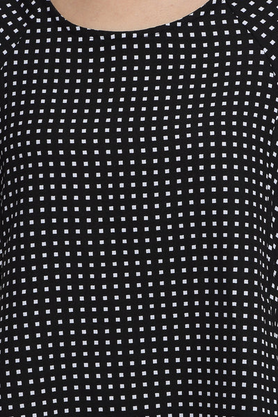 Black Graphic Backbow Dress Close Up
