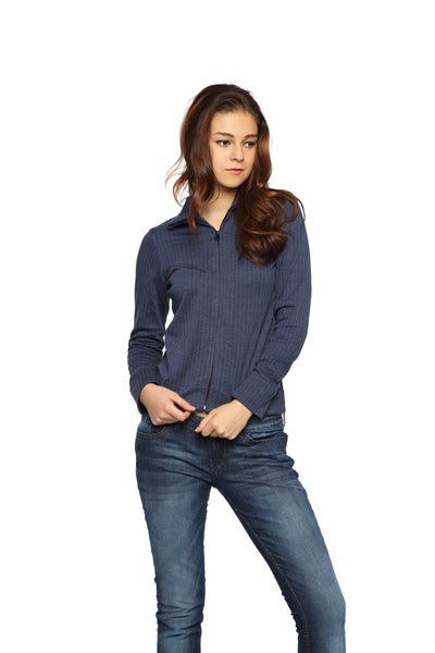 Jacket with Zipper in Blue Knit Front 1