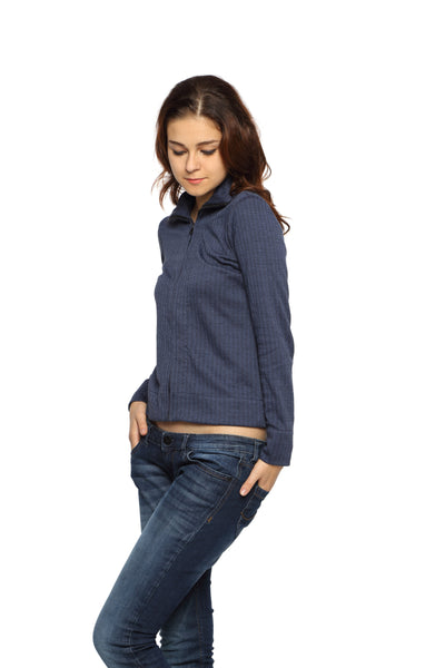 Jacket with Zipper in Blue Knit Side