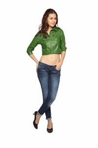 Crop Jacket in Green Patent Leather Front