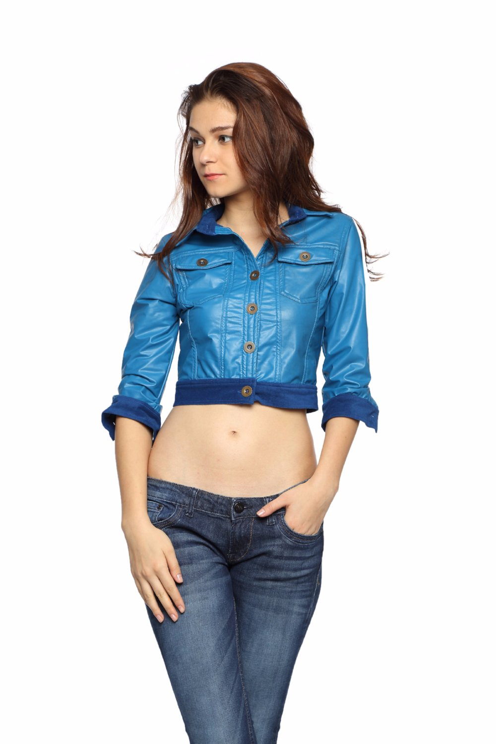 Crop Jacket in Blue Patent Leather Front