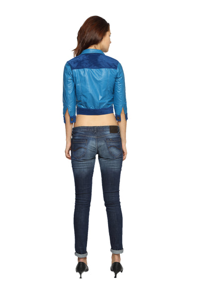 Crop Jacket in Blue Patent Leather Back