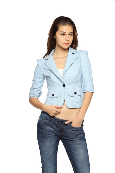 The Classic Jacket in Sky Blue Front
