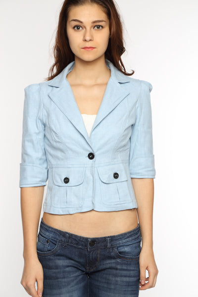 The Classic Jacket in Sky Blue Close Up