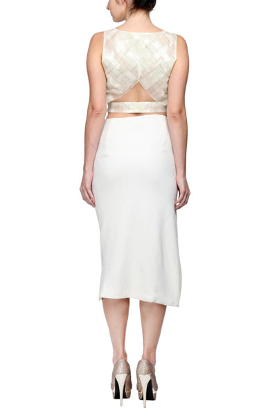 Crop Top in Italian Tissue & Origami Folded Skirt with Gold Chain Link Back
