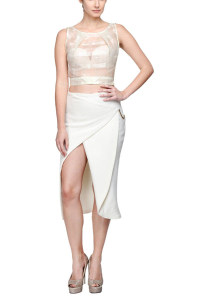 Crop Top in Italian Tissue & Origami Folded Skirt with Gold Chain Link Front 1