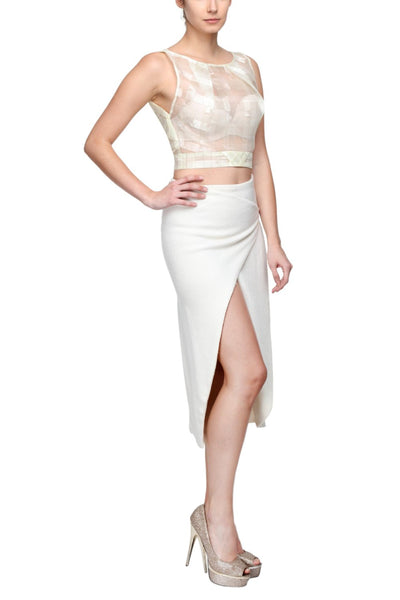 Crop Top in Italian Tissue & Origami Folded Skirt with Gold Chain Link Side