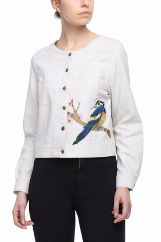 Jacquard Crop Jacket With Hand Embroidered Kingfisher Front