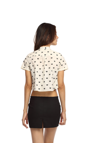Kitty Print Crop Top Shirt Back
