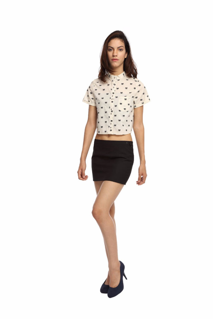 Kitty Print Crop Top Shirt Front