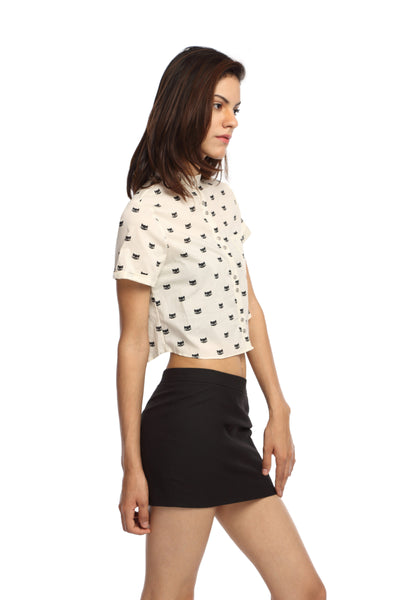 Kitty Print Crop Top Shirt Side