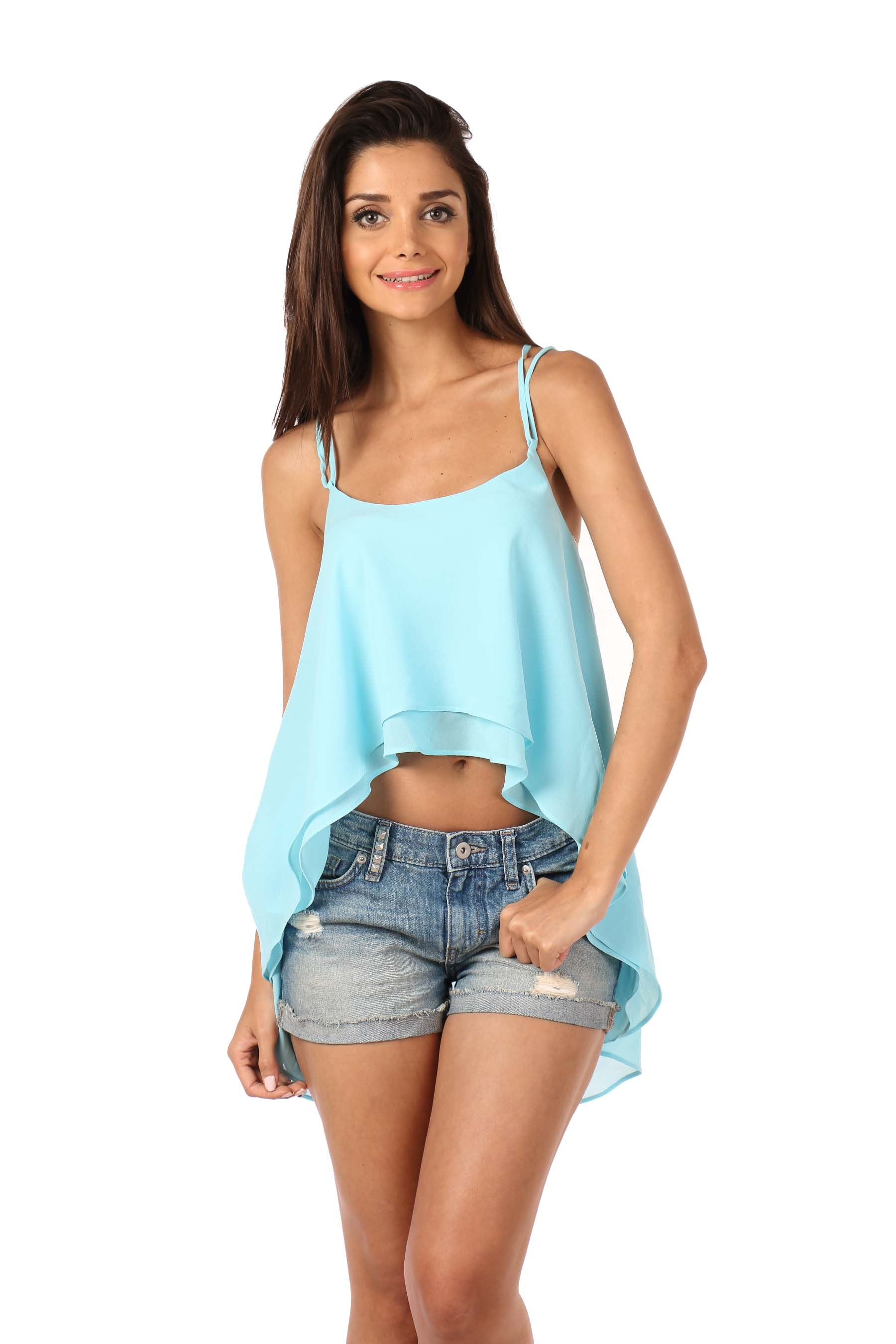 Light Blue Georgette Top Front