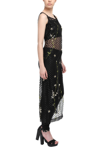 Embroidered Long Tunic In Black Net Side