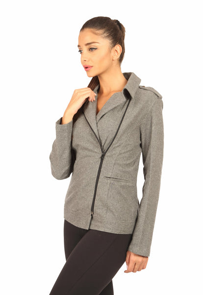 Grey Biker Jacket Side