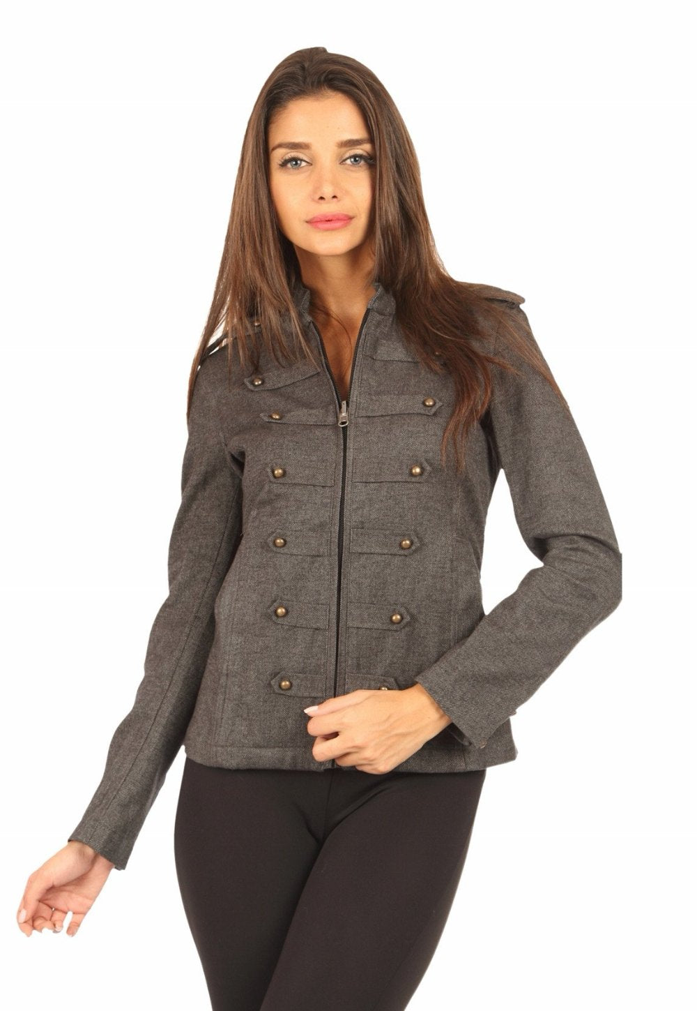 Military Jacket in Charcoal Front