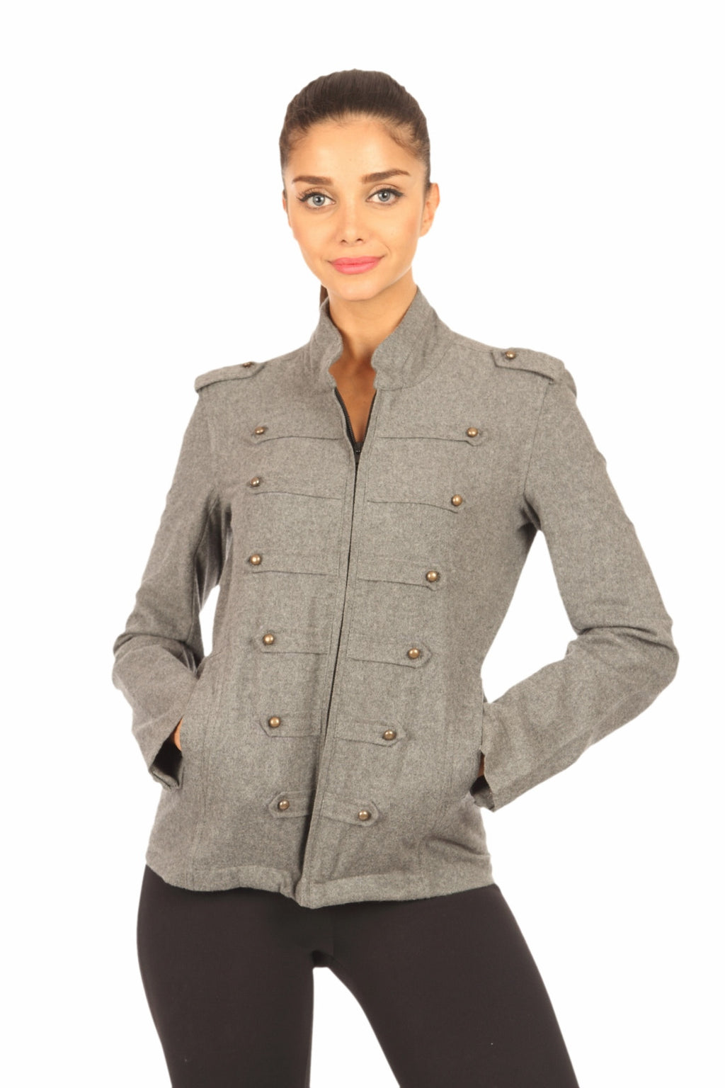 Military Jacket in Grey Front