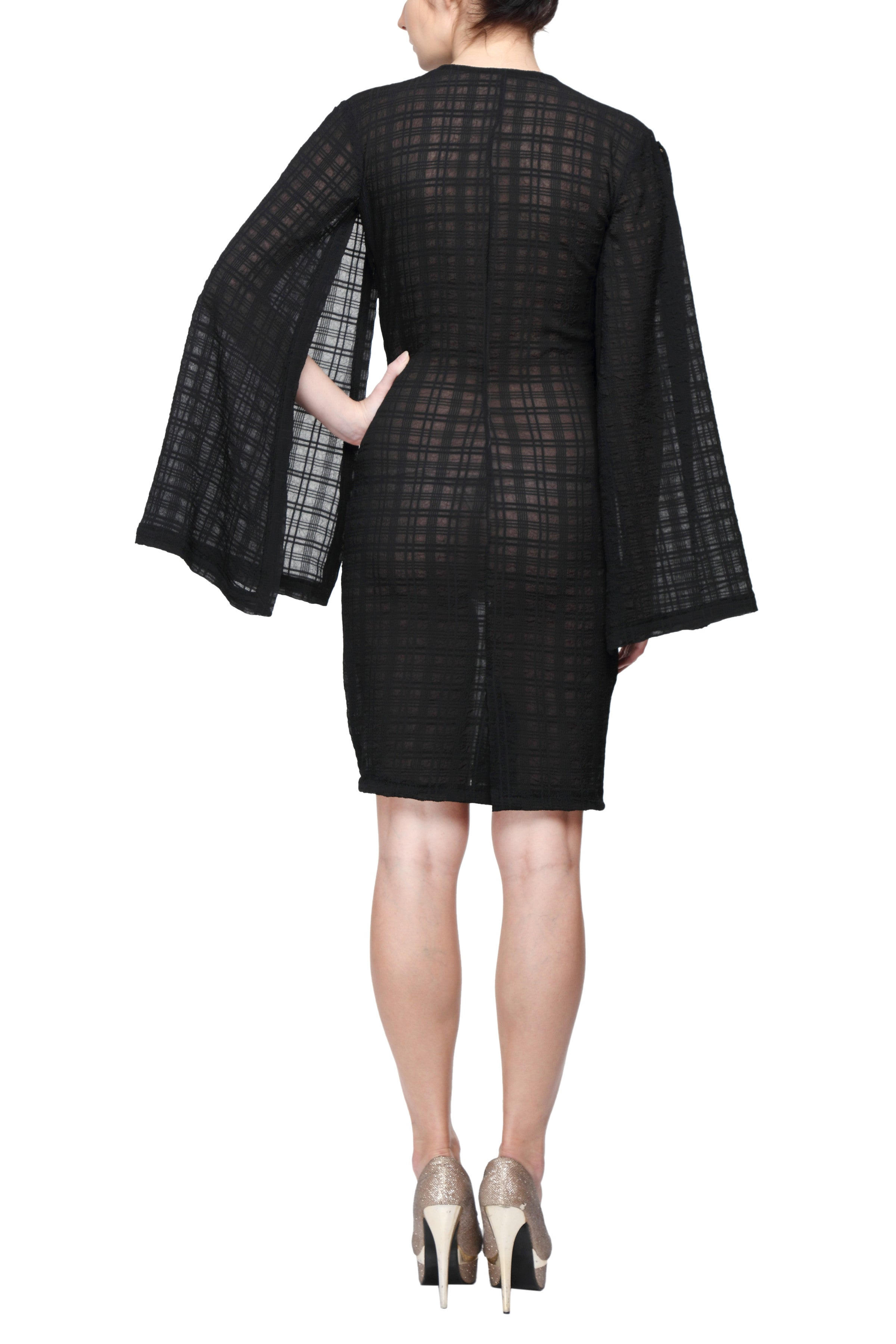 Black Kimono Sleeve Dress Back