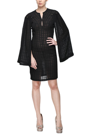 Black Kimono Sleeve Dress Front