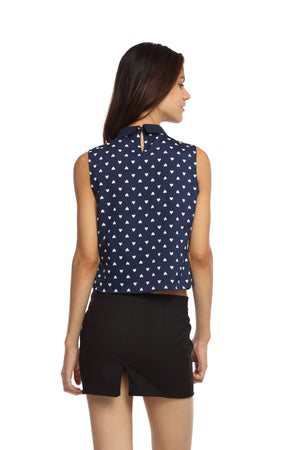 Navy Blue Printed Peterpan Collar Top Back
