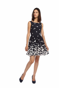 Navy Butterfly Flare Dress Front