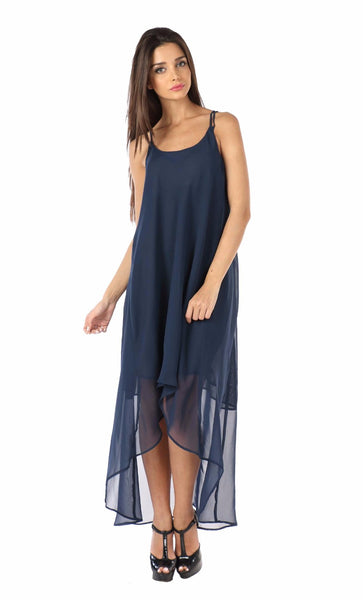 Navy Blue Highlow Crossback Dress Front
